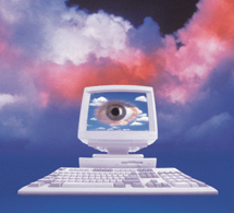 Privacy: an eye stares out from a computer screen